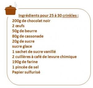 Ingredient liste crinkles chocolat