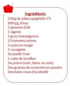 Recette Ingredients liste one-pot-pasta pâtes