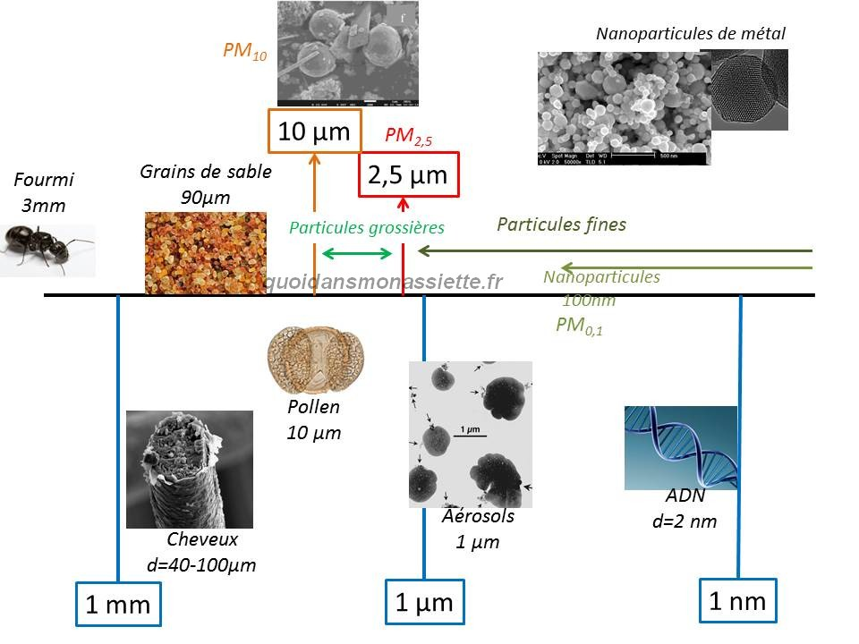 particules fines nanoparticules pollution grossieres PM10 PM25 taille