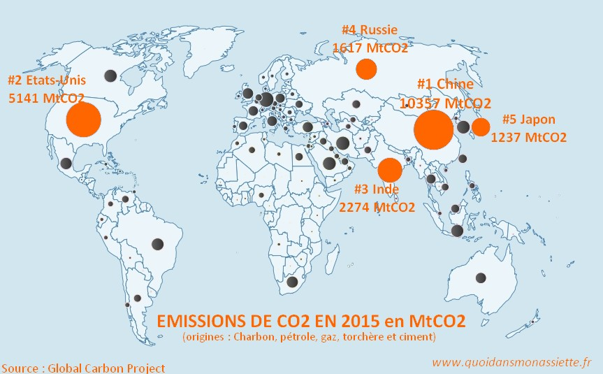 Emission CO2 Carbon dioxid monde carte GES pollution