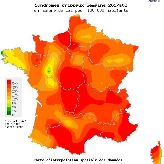 carte epidemie grippe france 2017