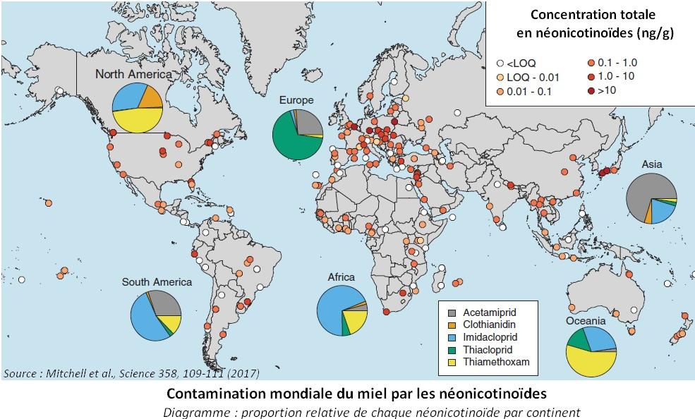 carte néonicotinoïdes répartition mondiale concentration miel