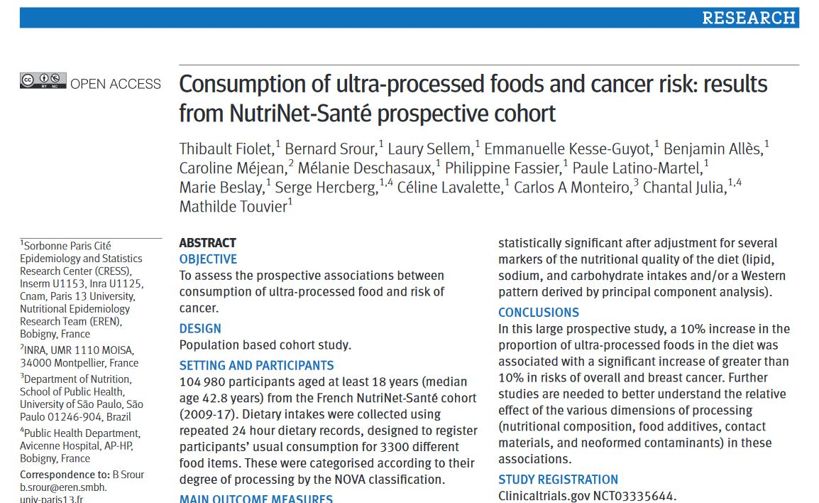 bmj étude thibault fiolet ultra-transformé cancer ultraprocessed