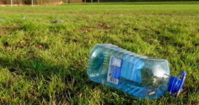 bouteille plastique herbe prairie