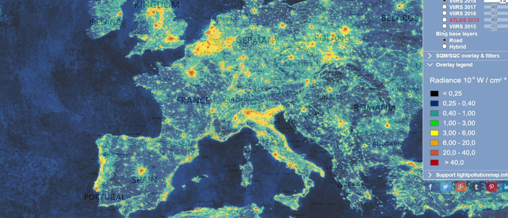 light pollution carte lumineuse