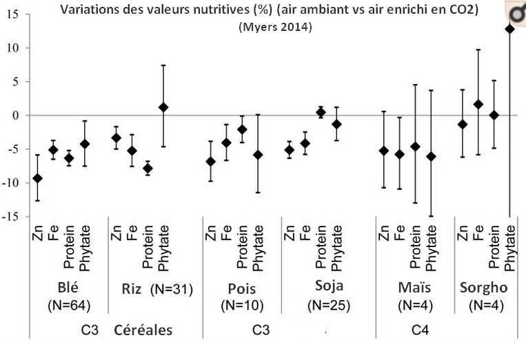 dioxyde carbone qualité nutritionnelle riz céréales