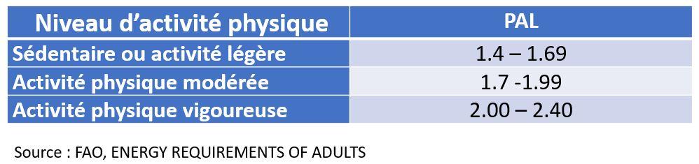 physical activity level PAL activité physique valeur métaboliques