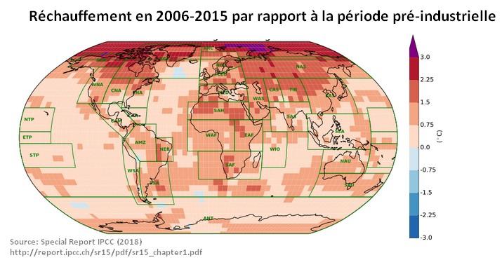 réchauffement temperature climatique GIEC IPCC 2018