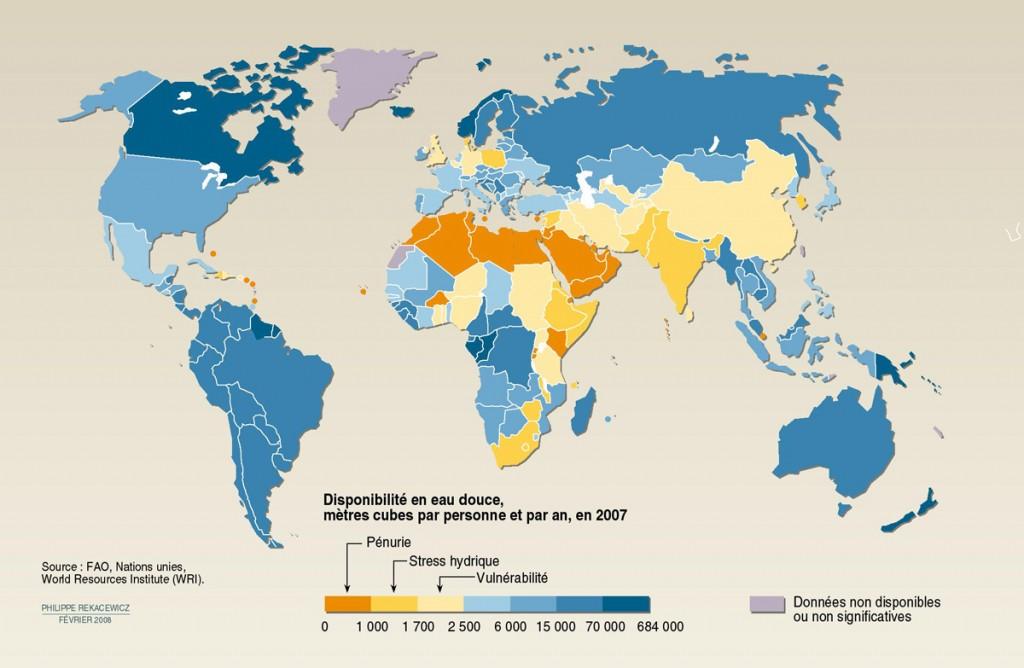 Carte de repartition des ressources en eau douce dans le monde