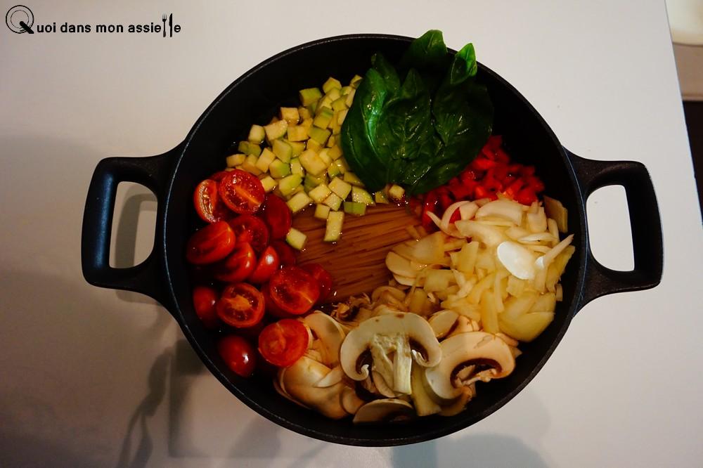 Recette One-pot-pasta cru avant cuisson