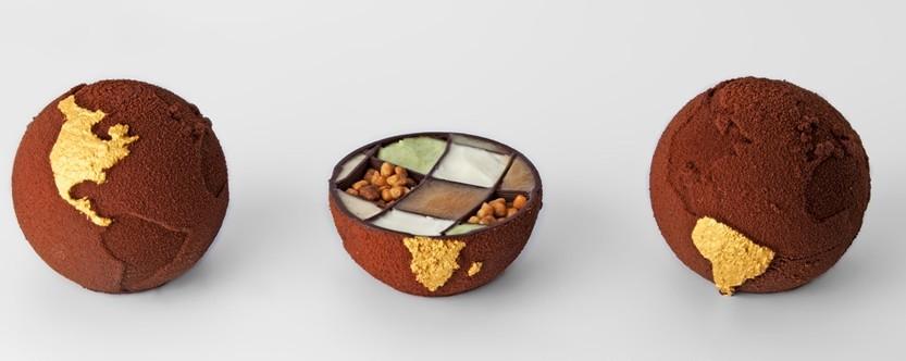 3D chocolat food printing impression alimentair globe terre