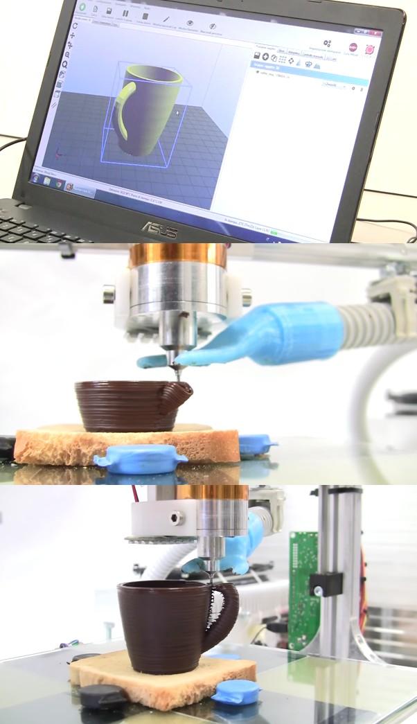 impression 3D alimentaire chocolat tasse print food