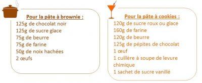 liste ingredients recette brookie chocolat