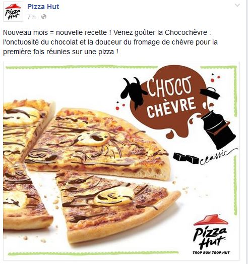 pizza hut choco chèvre poisson d'avril