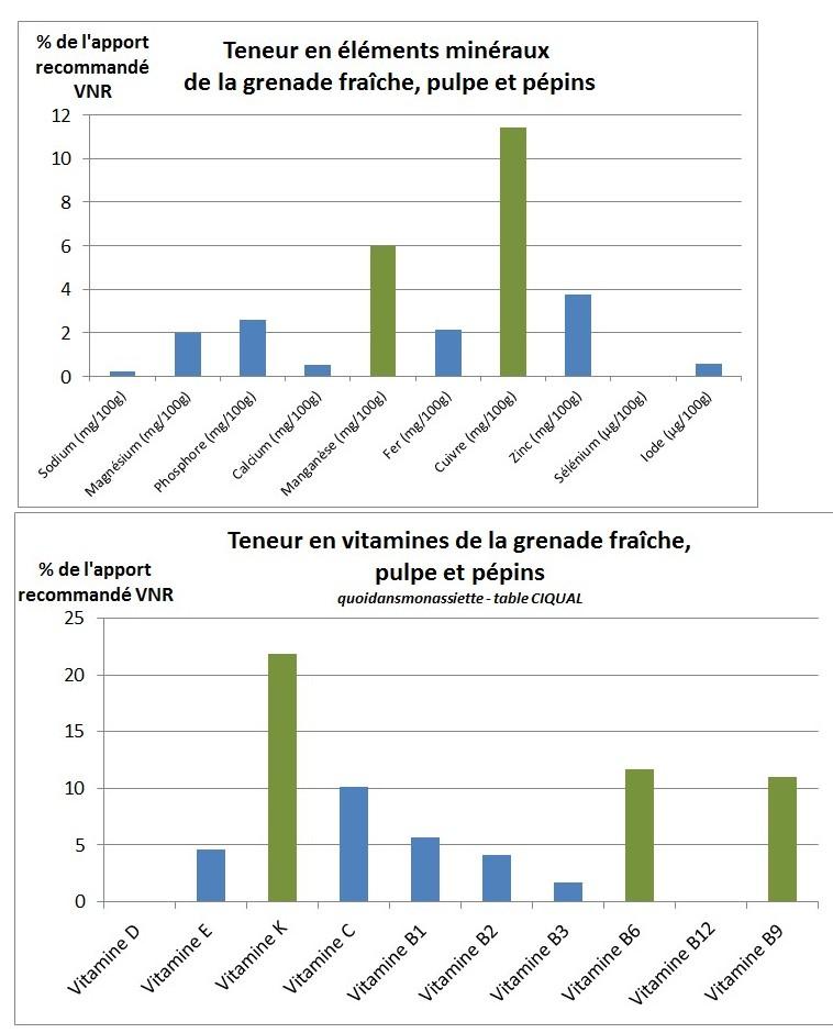 teneur vitamine elements mineraux grenade composition nutritionnelle fruit