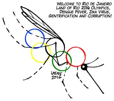 caricature Jeux olympiques RIo Janeiro Bresil Virus Zika