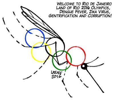 caricature Jeux olympiques RIo Janeiro Bresil Virus Zika