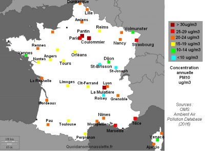 carte pollution particulate matter PM10 france maps oms