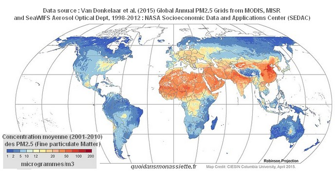 carte pollution particulate matter world monde PM2.5 PM10