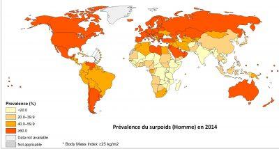 surpoids map carte monde 2014