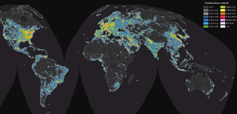 map light surface brillance pollution lumineuse intensite lumière monde carte