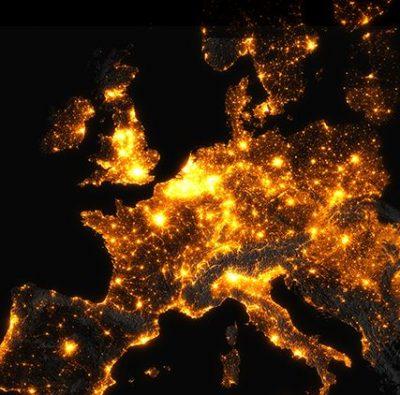 pollution lumineuse artificielle europe carte map light