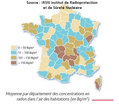 source radon radioactif gaz france répartition