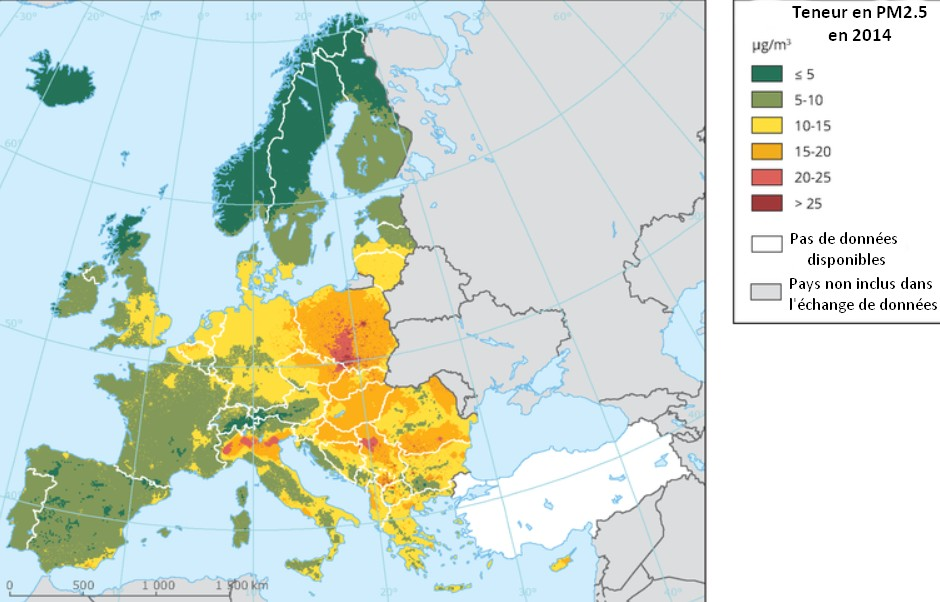 Carte pollution air europe concentratinon particules fines PM2