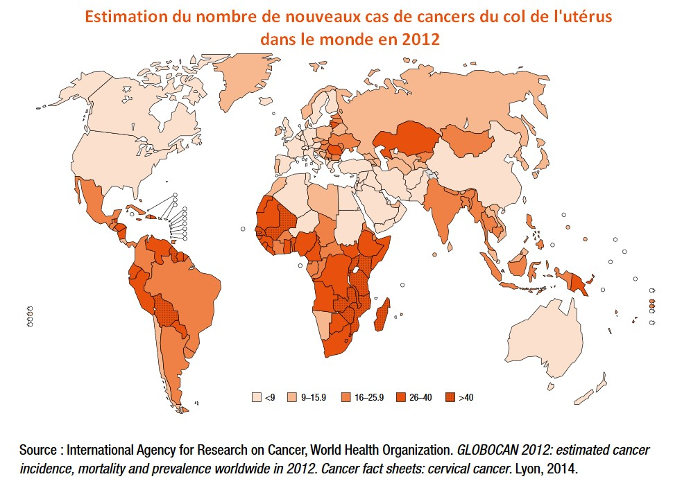 incidence cancer col utérus monde cervical
