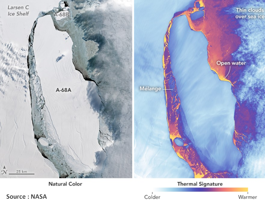 iceberg larsen C A-68 antarctique temperature