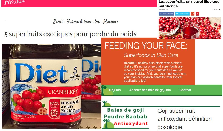 jus cranberry allegation sante nutrition