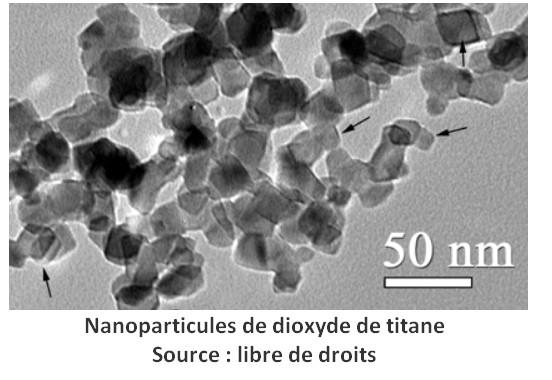 partículas de dióxido de titanio