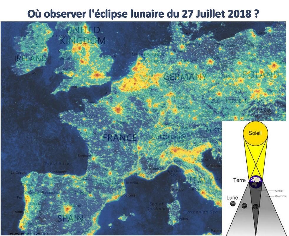 Où observer l'Eclipse lunaire de ce 27 Juillet 2018 et éviter la pollution lumineuse ?