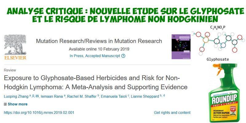 analyse critique glyphosate lymphome non hodgkinien