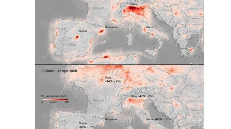 emissions en NO2 europe confinement